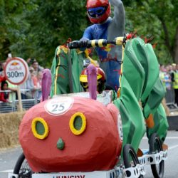 EDITORIAL USE ONLY Team 'Hungry' take part in the Red Bull Soapbox Race, at Alexandra Palace, London. PRESS ASSOCIATION Photo. Picture date: Sunday July 12, 2015. See PA story TRANSPORT Soapbox. Photo credit should read: Doug Peters/PA Wire