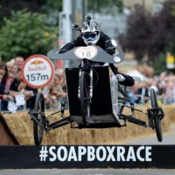 EDITORIAL USE ONLY Team 'The Improved Rocket' take part in the Red Bull Soapbox Race, at Alexandra Palace, London. PRESS ASSOCIATION Photo. Picture date: Sunday July 12, 2015. See PA story TRANSPORT Soapbox. Photo credit should read: Doug Peters/PA Wire