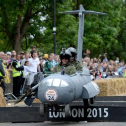 EDITORIAL USE ONLY Team 'C17 Roadmaster' take part in the Red Bull Soapbox Race, at Alexandra Palace, London. PRESS ASSOCIATION Photo. Picture date: Sunday July 12, 2015. See PA story TRANSPORT Soapbox. Photo credit should read: Doug Peters/PA Wire