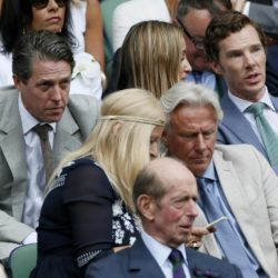 Actor's Benedict Cumberbatch (top R) and Hugh Grant (L), Former Tennis player Bjorn Borg and his wife Patricia on Centre Court at the Wimbledon Tennis Championships in London, July 12, 2015.                                                    REUTERS/Stefan Wermuth