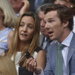 Actor Benedict Cumberbatch (R) on Centre Court at the Wimbledon Tennis Championships in London, July 12, 2015.                                                     REUTERS/Toby Melville
