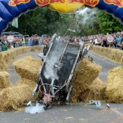EDITORIAL USE ONLY Team 'Steampunk Mechanical Bull' take part in the Red Bull Soapbox Race, at Alexandra Palace, London. PRESS ASSOCIATION Photo. Picture date: Sunday July 12, 2015. See PA story TRANSPORT Soapbox. Photo credit should read: Doug Peters/PA Wire