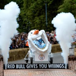 EDITORIAL USE ONLY Team 'Snow Rocket'  take part in the Red Bull Soapbox Race, at Alexandra Palace, London. PRESS ASSOCIATION Photo. Picture date: Sunday July 12, 2015. See PA story TRANSPORT Soapbox. Photo credit should read: Doug Peters/PA Wire