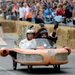 EDITORIAL USE ONLY Team 'Soapspeeder' take part in the Red Bull Soapbox Race, at Alexandra Palace, London. PRESS ASSOCIATION Photo. Picture date: Sunday July 12, 2015. See PA story TRANSPORT Soapbox. Photo credit should read: Doug Peters/PA Wire
