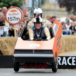 EDITORIAL USE ONLY The winning team 'The Breakfast Club' with driver Richie Firth (L) and co-driver Christian O'Connell, take part in the Red Bull Soapbox Race, at Alexandra Palace, London. PRESS ASSOCIATION Photo. Picture date: Sunday July 12, 2015. See PA story TRANSPORT Soapbox. Photo credit should read: Doug Peters/PA Wire