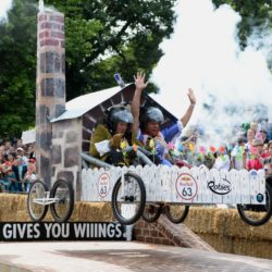 EDITORIAL USE ONLY Team 'Poldark Express' take part in the Red Bull Soapbox Race, at Alexandra Palace, London. PRESS ASSOCIATION Photo. Picture date: Sunday July 12, 2015. The Red Bull Soapbox Race will be shown exclusively on Dave at 6pm on Sunday. See PA story TRANSPORT Soapbox. Photo credit should read: Doug Peters/PA Wire
