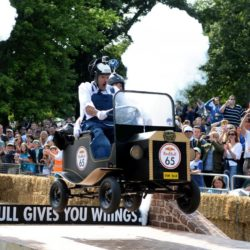 EDITORIAL USE ONLY Team 'The Stan and Ollie Trolley' take part in the Red Bull Soapbox Race, at Alexandra Palace, London. PRESS ASSOCIATION Photo. Picture date: Sunday July 12, 2015. The Red Bull Soapbox Race will be shown exclusively on Dave at 6pm on Sunday. See PA story TRANSPORT Soapbox. Photo credit should read: Doug Peters/PA Wire