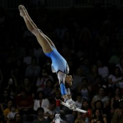 Jessica Lopez of Venezuela performs during the Artistic Gymnastics competitions at the Pan Am Games in Toronto, Canada, 12 July 2015. EFE/ORLANDO BARRIA Lapresse Only italyPan Am Games 2015