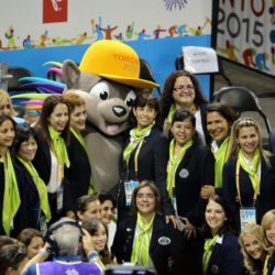 Visitors posing today whit Pachi, the Pan Am Games mascot in Toronto, Canada, 12 July 2015. EFE/ALEJANDRO ERNESTO Lapresse Only italyPan Am Games 2015