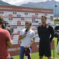 Foto LaPresse - Daniele Montigiani 13-07-2015  Bormio (Italy) sport Calcio Ritiro Estivo Torino FC Presentazione Maglie a Sky Nella foto: Presentazione, con Paolo Aghemo e Daniele Padelli  Photo LaPresse - Daniele Montigiani 13-07-2015  Bormio (Italy) sport Calcio Pre season training Camp Torino FC Presentation clothing playing broadcasterIn the photo: Presentation, con Paolo Aghemo e Daniele Padelli