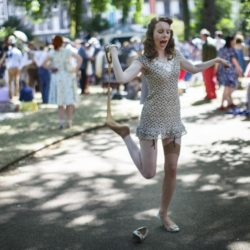 July 11, 2015 - London, London, UK - London, UK. Guests attending 'The Chap Olympiad' in Bedford Square, London on July 11, 2015. The Chap Olympiad is a light-hearted social sporting event aimed at revisiting the fashions and pastimes of the polite aspects of 1920's to 1950's England. The Chap Olympiad: Le Olimpiadi dei Gentiluomini a Londra ZumaPressLaPresse  -- Only Italy