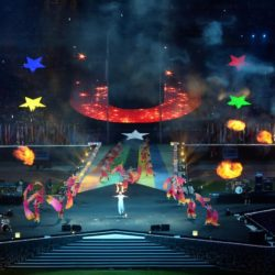 (150714) -- GWANGJU, Jul. 14, 2015 (Xinhua) --  Performers perform during the closing ceremony of 2015 Summer Universiade at the Gwangju World Cup Stadium in Gwangju on July 14, 2015.(Xinhua/Li Jundong)(wll)