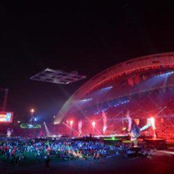 (150714) -- GWANGJU, July 14, 2015 (Xinhua) --  Fireworks explode during the closing ceremony of 2015 Summer Universiade at the Gwangju World Cup Stadium in Gwangju, South Korea, on July 14, 2015. (Xinhua/Tao Xiyi)(wll)