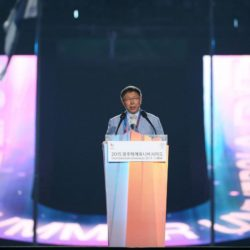 (150714) -- GWANGJU, July 14, 2015 (Xinhua) --  Ko Wen-Je, mayor of Taipei the host of the next Summer Universiade in 2017, addresses during the closing ceremony of 2015 Summer Universiade at the Gwangju World Cup Stadium in Gwangju, South Korea, on July 14, 2015. (Xinhua/Bai Xuefei)(wll)