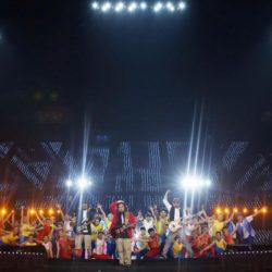(150714) -- GWANGJU, July 14, 2015 (Xinhua) --  Performers from Taipei, the host of the next Summer Universiade in 2017, perform during the closing ceremony of 2015 Summer Universiade at the Gwangju World Cup Stadium in Gwangju, South Korea, on July 14, 2015. (Xinhua/Bai Xuefei)(wll)