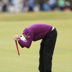 England's James Morrison shows his dejection after a missed putt during a practice day ahead of The Open Championship 2015 at St Andrews, Fife. PRESS ASSOCIATION Photo. Picture date: Tuesday July 14, 2015. See PA story GOLF Open. Photo credit should read: David Davies/PA Wire. RESTRICTIONS: Editorial use only - no commercial use. No onward sale. Still image use only. The Open Championship logo and clear link to The Open website (www.TheOpen.com) to be included on website publishing. Call +44 (0)1158 447447 for further info.