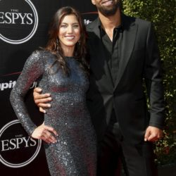 U.S. Women's National Team soccer goalkeeper Hope Solo and former NFL football player Jerramy Stevens arrive for the 2015 ESPY Awards in Los Angeles, California July 15, 2015.  REUTERS/Danny Moloshok