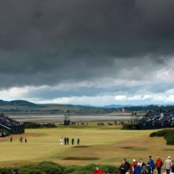 A general view of play under dark clouds during day four of The Open Championship 2015 at St Andrews, Fife. PRESS ASSOCIATION Photo. Picture date: Sunday July 19, 2015. See PA story GOLF Open. Photo credit should read: David Davies/PA Wire. RESTRICTIONS: Editorial use only - no commercial use. No onward sale. Still image use only. The Open Championship logo and clear link to The Open website (www.TheOpen.com) to be included on website publishing. Call +44 (0)1158 447447 for further info.