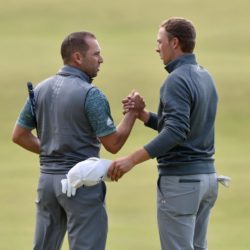 Spain's Sergio Garcia and USA's Jordan Spieth (right) shake hands on the 18th green during day four of The Open Championship 2015 at St Andrews, Fife. PRESS ASSOCIATION Photo. Picture date: Sunday July 19, 2015. See PA story GOLF Open. Photo credit should read: Owen Humphreys/PA Wire. RESTRICTIONS: Editorial use only - no commercial use. No onward sale. Still image use only. The Open Championship logo and clear link to The Open website (www.TheOpen.com) to be included on website publishing. Call +44 (0)1158 447447 for further info.