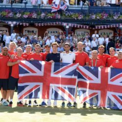 Great Britain's squad celebrate their win over France on day three of the Davis Cup Quarter Finals between Great Britain and France at the Queen's Club, London. PRESS ASSOCIATION Photo. Picture date: Sunday July 19, 2015. See PA story TENNIS Davis Cup. Photo credit should read: Adam Davy/PA Wire