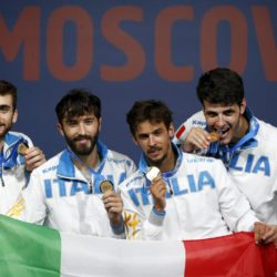 Winners of the men's team foil competition (L-R) Italy's Daniele Garozzo, Giorgio Avola, Andrea Baldini and Andrea Cassara pose for a picture during a medal ceremony at the World Fencing Championships in Moscow, Russia, July 19, 2015. REUTERS/Grigory Dukor
