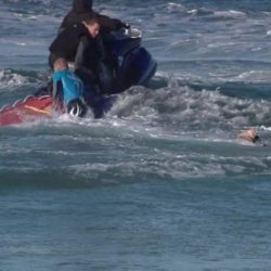 BEST QUALITY AVAILABLE  Screen grabbed image taken from footage issued by the World Surf League (WSL) of Australian surfer Mick Fanning after he was knocked off his board by a shark and then punched it during the televised finals of a world surfing competition in South Africa before escaping. PRESS ASSOCIATION Photo. Issue date: Sunday July 19, 2015. Fanning was attacked by the shark during the JBay Open in Jeffrey's Bay in the Eastern Cape Province but escaped without injuries. On a video on the World Surf League's website http://www.worldsurfleague.com, Fanning is seen being knocked off his surfboard. See PA story SAFRICA Shark. Photo credit should read: World Surf League (WSL)/PA Wire  NOTE TO EDITORS: This handout photo may only be used in for editorial reporting purposes for the contemporaneous illustration of events, things or the people in the image or facts mentioned in the caption. Reuse of the picture may require further permission from the copyright holder.
