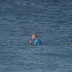 BEST QUALITY AVAILABLE  Screen grabbed image taken from footage issued by the World Surf League (WSL) of Australian surfer Mick Fanning moments before he was knocked off his board by a shark and then punched it during the televised finals of a world surfing competition in South Africa before escaping. PRESS ASSOCIATION Photo. Issue date: Sunday July 19, 2015. Fanning was attacked by the shark during the JBay Open in Jeffrey's Bay in the Eastern Cape Province but escaped without injuries. On a video on the World Surf League's website http://www.worldsurfleague.com, Fanning is seen being knocked off his surfboard. See PA story SAFRICA Shark. Photo credit should read: World Surf League (WSL)/PA Wire  NOTE TO EDITORS: This handout photo may only be used in for editorial reporting purposes for the contemporaneous illustration of events, things or the people in the image or facts mentioned in the caption. Reuse of the picture may require further permission from the copyright holder.