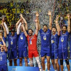 French National volleyball team players celebrate with the trophy their team's victory over Serbia in their Volleyball World League Final match at Maracanazinho gymnasium in Rio de Janeiro, Brazil, 19 July 2015. EFE/Antonio Lacerda