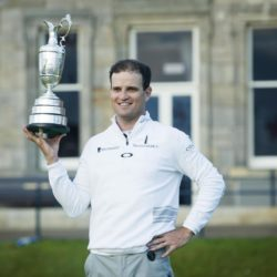 USA's Zach Johnson celebrates with the Claret Jug after winning The Open Championship 2015 at St Andrews, Fife. PRESS ASSOCIATION Photo. Picture date: Monday July 20, 2015. See PA story GOLF Open. Photo credit should read: Danny Lawson/PA Wire. RESTRICTIONS: Editorial use only - no commercial use. No onward sale. Still image use only. The Open Championship logo and clear link to The Open website (www.TheOpen.com) to be included on website publishing. Call +44 (0)1158 447447 for further info.