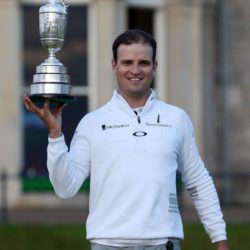 USA's Zach Johnson celebrates with the Claret Jug after winning The Open Championship at St Andrews, Fife. PRESS ASSOCIATION Photo. Picture date: Monday July 20, 2015. See PA story GOLF Open. Photo credit should read: David Davies/PA Wire. RESTRICTIONS: Editorial use only - no commercial use. No onward sale. Still image use only. The Open Championship logo and clear link to The Open website (www.TheOpen.com) to be included on website publishing. Call +44 (0)1158 447447 for further info.