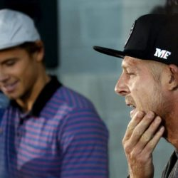 Mick Fanning (R) of Australia and fellow surfer and compatriat Julian Wilson react during a news conference in Sydney, Australia July 21, 2015, after Fanning was attacked by a shark during the finals on Sunday of the J-Bay Open in Jeffrey's Bay, South Africa. REUTERS/David Gray