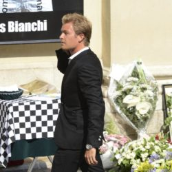 Formula One driver Nico Rosberg arrives to attend the funeral ceremony for late Marussia F1 driver Jules Bianchi at the Sainte Reparate Cathedral in Nice, France, July 21, 2015. Bianchi, 25, died in hospital in Nice on Friday, nine months after his crash at Suzuka in Japan and without regaining consciousness.   REUTERS/Jean-Pierre Amet