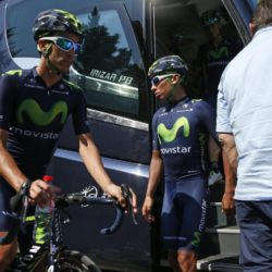 Movistar riders Jose Herrada of Spain (L) and Nairo Quintana of Colombia prepare to leave for a team training session in Crots during a rest day in the 102nd Tour de France cycling race, France, July 21, 2015. REUTERS/Benoit Tessier