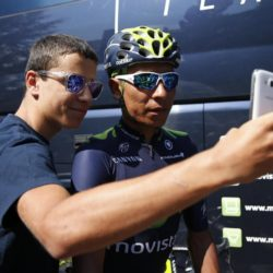 Movistar rider Nairo Quintana of Colombia poses for a selfie in front of his hotel before a team training session in Crots during a rest day in the 102nd Tour de France cycling race, France, July 21, 2015. REUTERS/Benoit Tessier