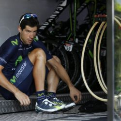 Movistar rider Imanol Erviti of Spain prepares to leave for a team training session in Crots during a rest day in the 102nd Tour de France cycling race, France, July 21, 2015. REUTERS/Benoit Tessier