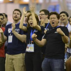 """A U.S. team cheer as they win against an Iranian team during the 2015 Robocup finals in Hefei, Anhui province, July 22, 2015. The Robocup, or """"Robot Soccer World Cup"""", is an annual international robotics competitions which is held between July 17 - 23 this year in China's Hefei.  REUTERS/Stringer  CHINA OUT. NO COMMERCIAL OR EDITORIAL SALES IN CHINA"""
