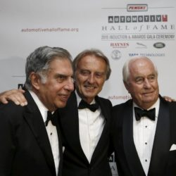 Luca di Montezemolo (C ), former chairman of Ferrari, stands with Ratan Tata (L), chairman emeritus of Tata Sons, and Roger Penske, owner of the auto racing team 'Team Penske', after all three were inducted into the 2015 Automotive Hall of Fame in Detroit, Michigan July 23, 2015.  REUTERS/Rebecca Cook