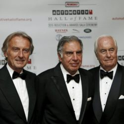 Luca di Montezelomo (L), former chairman of Ferrari, stands with Ratan Tata (C ), chairman emeritus of Tata Sons, and Roger Penske, owner of the auto racing team 'Team Penske', after all three were inducted into the 2015 Automotive Hall of Fame in Detroit, Michigan July 23, 2015.  REUTERS/Rebecca Cook