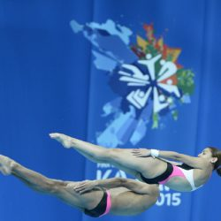 Foto Fabio Ferrari - LaPresse 25/07/2015 Kazan ( Russia )  Sport  16 Campionati del mondo FINA 2015 - Diving - Sincero Misto 10m piattaforma. nella foto:Mexico  Photo Fabio Ferrari - LaPresse 25 July 2015 Kazan ( Russian )  Sport 16th FINA World Championship 2015 - Diving -Mixed 10m Syncrhro Platform; In the pic:Mexico