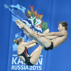 Foto Fabio Ferrari - LaPresse 25/07/2015 Kazan ( Russia )  Sport  16 Campionati del mondo FINA 2015 - Diving - Sincero Misto 10m piattaforma. nella foto:Batki, Verzotto (Italia)  Photo Fabio Ferrari - LaPresse 25 July 2015 Kazan ( Russian )  Sport 16th FINA World Championship 2015 - Diving -Mixed 10m Syncrhro Platform; In the pic:Batki, Verzotto