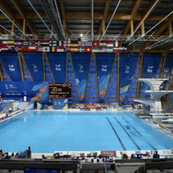 Foto Fabio Ferrari - LaPresse 25/07/2015 Kazan ( Russia )  Sport  16 Campionati del mondo FINA 2015 - Diving - Sincero Misto 10m piattaforma. nella foto:La piscina  Photo Fabio Ferrari - LaPresse 25 July 2015 Kazan ( Russian )  Sport 16th FINA World Championship 2015 - Diving -Mixed 10m Syncrhro Platform; In the pic:Swimming pool