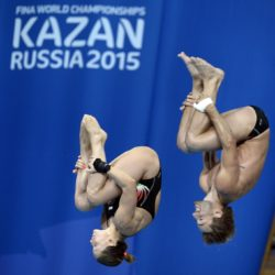 Foto Fabio Ferrari - LaPresse 25/07/2015 Kazan ( Russia )  Sport  16 Campionati del mondo FINA 2015 - Diving - Sincero Misto 10m piattaforma. nella foto:Durante la gara. Italia - Batki Noemi, Verzotto Maicol  Photo Fabio Ferrari - LaPresse 25 July 2015 Kazan ( Russian )  Sport 16th FINA World Championship 2015 - Diving -Mixed 10m Syncrhro Platform; In the pic:During the race, Italy,  Batki Noemi, Verzotto Maicol