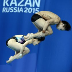 Foto Fabio Ferrari - LaPresse 25/07/2015 Kazan ( Russia )  Sport  16 Campionati del mondo FINA 2015 - Diving - Sincero Misto 10m piattaforma. nella foto:Durante la gara.  Photo Fabio Ferrari - LaPresse 25 July 2015 Kazan ( Russian )  Sport 16th FINA World Championship 2015 - Diving -Mixed 10m Syncrhro Platform; In the pic:During the race,