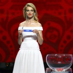 Presenter Natalia Vodianova announces the Oceania group during the preliminary draw for the 2018 FIFA World Cup at Konstantin Palace in St. Petersburg, Russia July 25, 2015. REUTERS/Stringer
