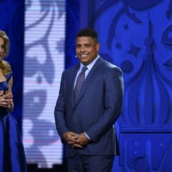 Former soccer player Ronaldo of Brazil is introduced as draw assistant by presenter Natalia Vodianova during the preliminary draw for the 2018 FIFA World Cup at Konstantin Palace in St. Petersburg, Russia July 25, 2015.  REUTERS/Maxim Shemetov
