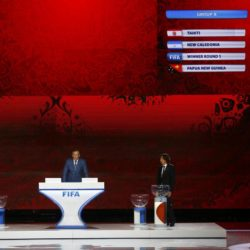 Serbian soccer player Predrag Rajkovic, FIFA Secretary General Jerome Valcke and former Russian soccer player Alexey Smertin (L-R) present the overview of the Oceania zone draw during the preliminary draw for the 2018 FIFA World Cup at Konstantin Palace in St. Petersburg, Russia July 25, 2015. REUTERS/Stringer