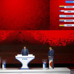 Uruguay's soccer player Diego Forlan, FIFA Secretary General Jerome Valcke and former soccer player Ronaldo of Brazil (L-R) present the overview of the South American zone draw during the preliminary draw for the 2018 FIFA World Cup at Konstantin Palace in St. Petersburg, Russia July 25, 2015. REUTERS/Stringer
