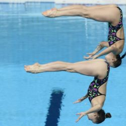 Foto Fabio Ferrari - LaPresse 25/07/2015 Kazan ( Russia )  Sport  16 Campionati del mondo FINA 2015 - Diving - Donne 3m Sincro. nella foto:durante la gara,Bazhina, Ilinykh (Russia) Photo Fabio Ferrari - LaPresse 25 July 2015 Kazan ( Russian )  Sport 16th FINA World Championship 2015 - Diving - Women's 3m Synchro Springboard. In the pic:during the race,Bazhina, Ilinykh (Russia)