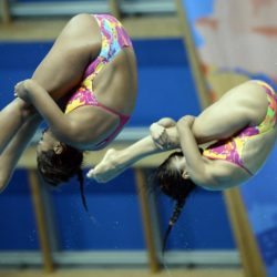 Foto Fabio Ferrari - LaPresse 25/07/2015 Kazan ( Russia )  Sport  16 Campionati del mondo FINA 2015 - Diving - Donne 3m Sincro. nella foto:durante la gara. Nuoto Sincronizzato Photo Fabio Ferrari - LaPresse 25 July 2015 Kazan ( Russian )  Sport 16th FINA World Championship 2015 - Diving - Women's 3m Synchro Springboard. In the pic:during the race,Blagg, Gallantree  (Great Britain)