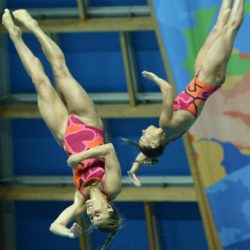 Foto Fabio Ferrari - LaPresse 25/07/2015 Kazan ( Russia )  Sport  16 Campionati del mondo FINA 2015 - Diving - Donne 3m Sincro. nella foto:Tania Cagnotto, Dallape Francesca (Italia)  Photo Fabio Ferrari - LaPresse 25 July 2015 Kazan ( Russian )  Sport 16th FINA World Championship 2015 - Diving - Women's 3m Synchro Springboard. In the pic:Tania Cagnotto, Dallape Francesca  (Italy)